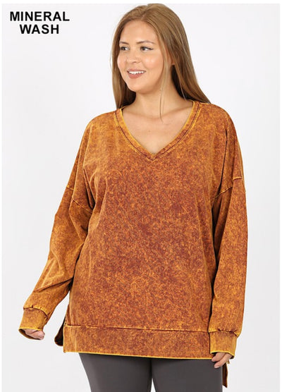 SLS-M {Simply Perfect} Desert Mustard Mineral Wash V-Neck Top