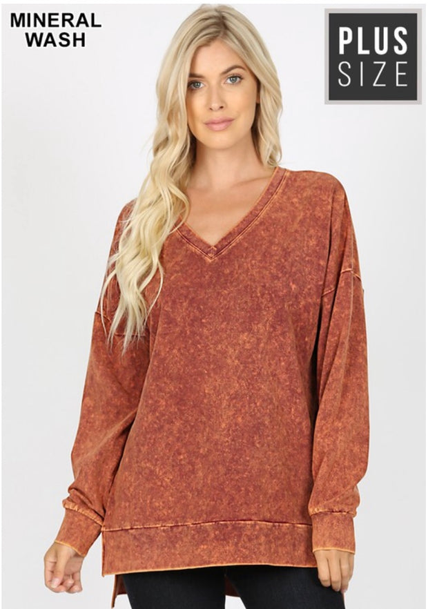 SLS-P {Simply Perfect} Persimmon Mineral Wash V-Neck Top