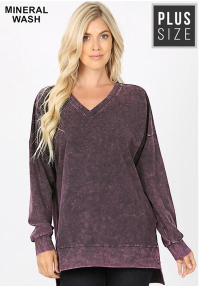 SLS-P {Simply Perfect} Blackberry Mineral Wash V-Neck Top
