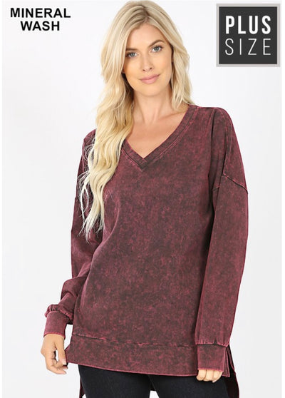 SLS-B {Simply Perfect} Burgundy Mineral Wash V-Neck Top