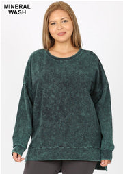 PLS-G {Take It Easy} Top Forest Green Mineral Wash Crew Neck
