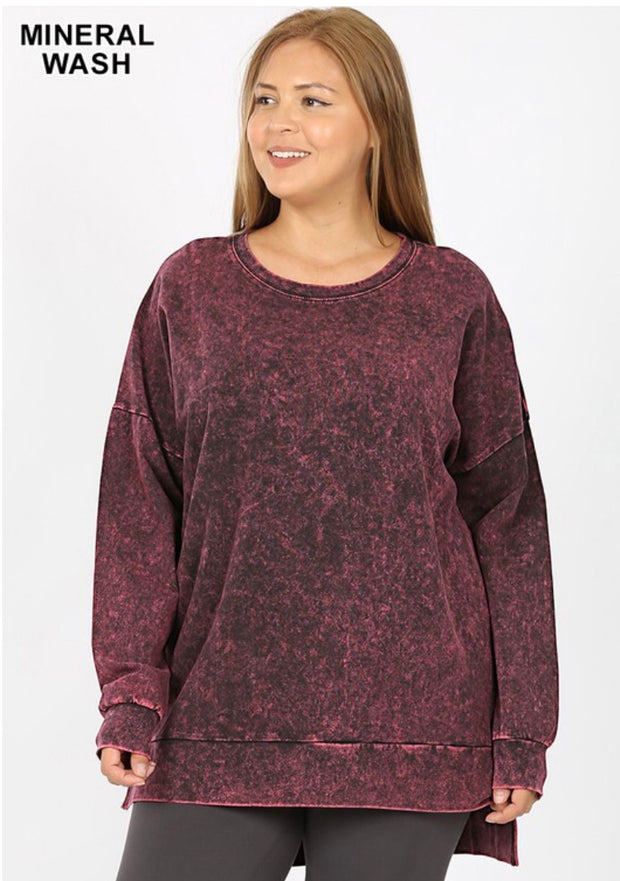 SLS-Z {Take It Easy} Burgundy Mineral Wash Crew Neck Top