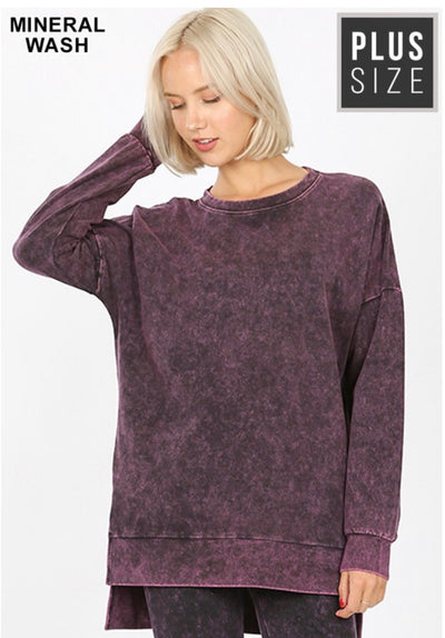 SLS-P {Take It Easy} Top Blackberry Mineral Wash Crew Neck