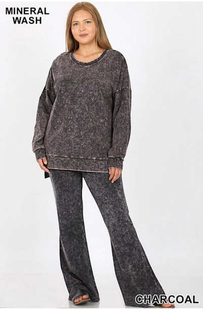 SLS-G {Take It Easy} Charcoal Mineral Wash Crew Neck Top