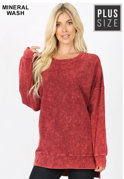 SLS-R {Take It Easy} Cabernet Mineral Wash Crew Neck Top