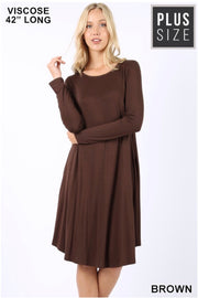 SLS-F {Curves Ahead} Solid Brown Midi Dress with Side Pockets