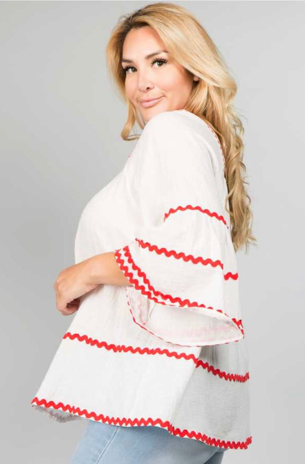 SD-X {See N Be Seen} White Tunic with Red Design/Stitching