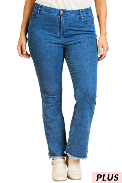 "BT-H ""UMGEE"" {Cure My Blues} Flare Jeans with Raw Hem PLUS SIZE"