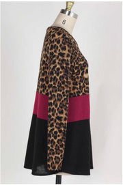 CP-A {Find Your Way} Leopard Burgundy Contrast Top