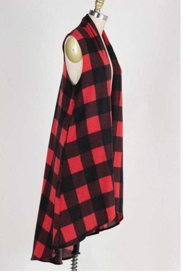 OT-M {When Hearts Collide} Red/Black Plaid Fleece Vest Extended Plus