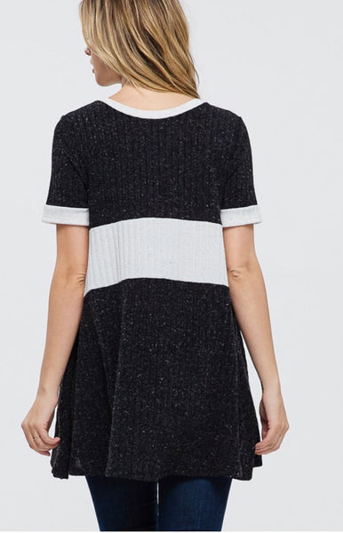 CP-J {Wish You The Best} Black Tunic with Off-White Contrast