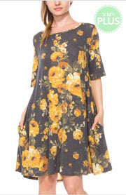 PQ-M {Hello World} Charcoal/Yellow Floral Dress with Pockets