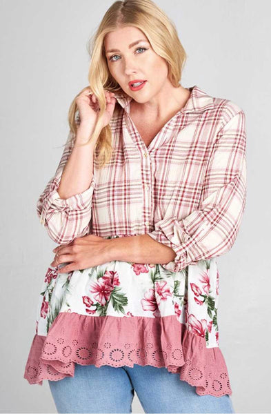 CP-B {Easy Street} Rose Floral Plaid Contrast Top