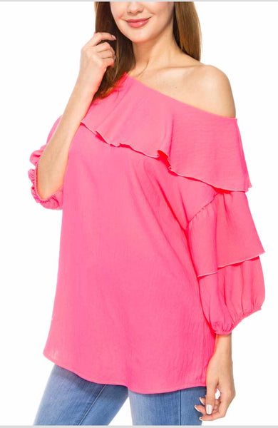 SQ-P {Tickled Pink} Neon Top with Ruffle Sleeves & Yoke