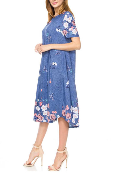 LD-U {High Hopes} Denim Blue Floral Long Dress with Pockets
