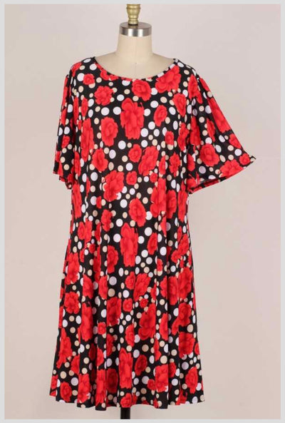 63 PSS-D {Go With The Flow} Black Polka-Dot Red Roses Dress EXTENDED PLUS SIZE 3X 4X 5X