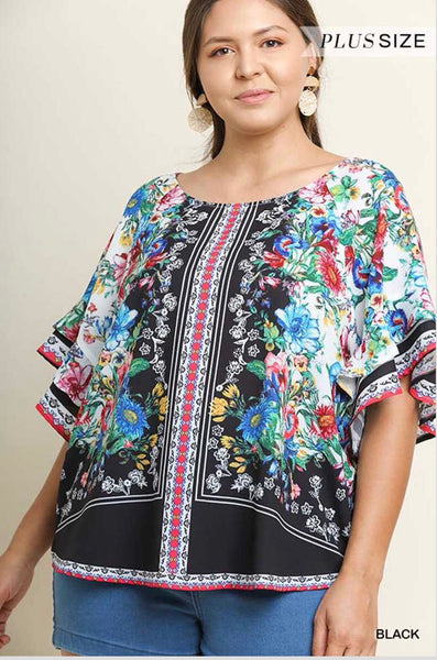 "PQ-Y {In Vogue} ""UMGEE"" Multi Floral Wide Sleeve Top"