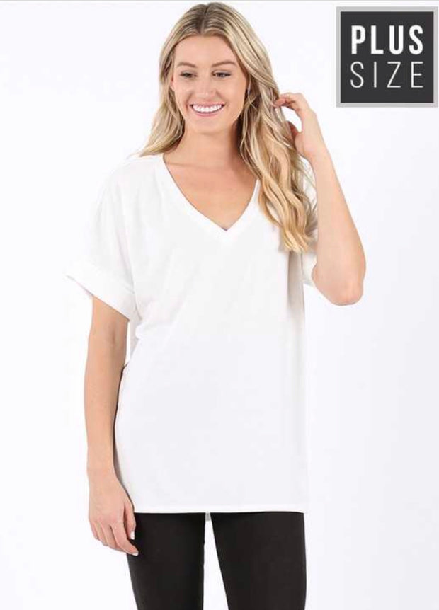 SSS-B {Admit One} White V-Neck Top with Cuffed Sleeves