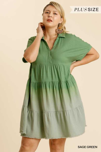 "63 CP-V {Unchained Melody}""UMGEE"" Green Dip-Dye Dress PLUS SIZE XL 1XL 2XL"