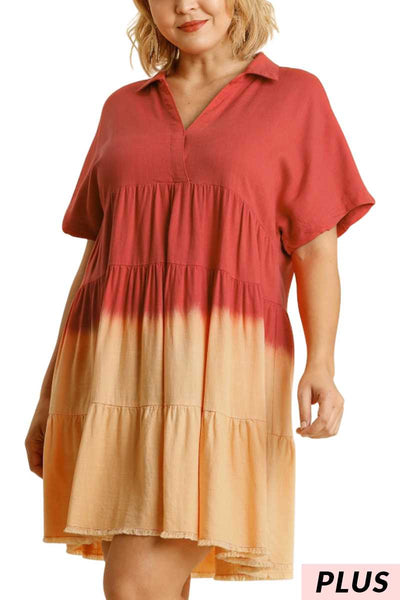 "63 CP-L {Unchained Melody} ""UMGEE"" Coral Dip-Dye Dress PLUS SIZE XL 1XL 2XL"