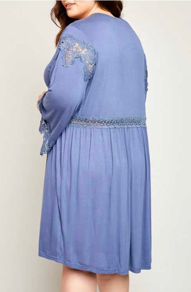 SLS-J {Truly Amazing} Blue Dress with Crochet Lace Detail