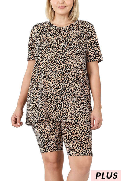 63 PSS-J {Patio Party} Tan Cheetah Print Loungewear Set PLUS SIZE XL 2X 3X