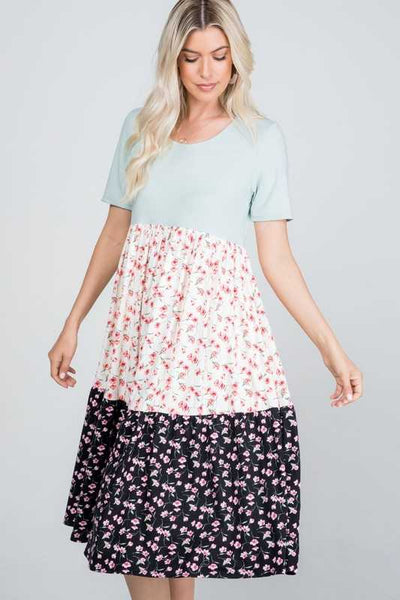 65 LD-S {Invest In Yourself} Butter Soft 3-Tier Floral Dress