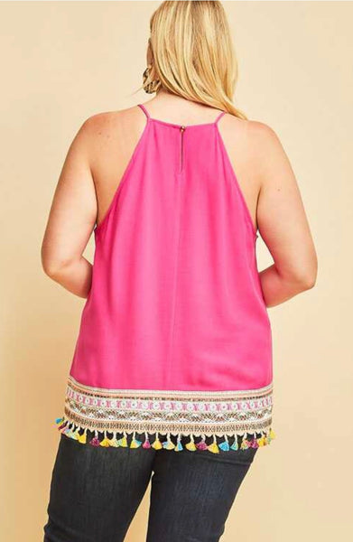SV-M {Summer Days} Fuchsia Top with Tassel Detailed Border
