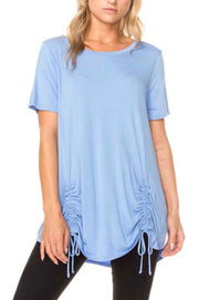 SSS-A {All I Need} Blue Top with Drawstring Ruched Detail