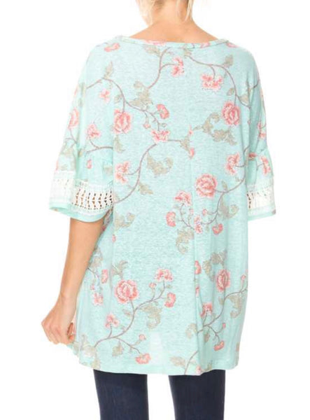 PQ-X {Happy Ending} Mint Floral Top with Sleeve Detail