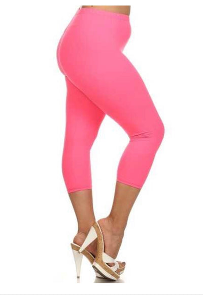 BT/I {So Many Ways} Fuchsia Capri Leggings Butter-Soft! EXTENDED PLUS SIZE