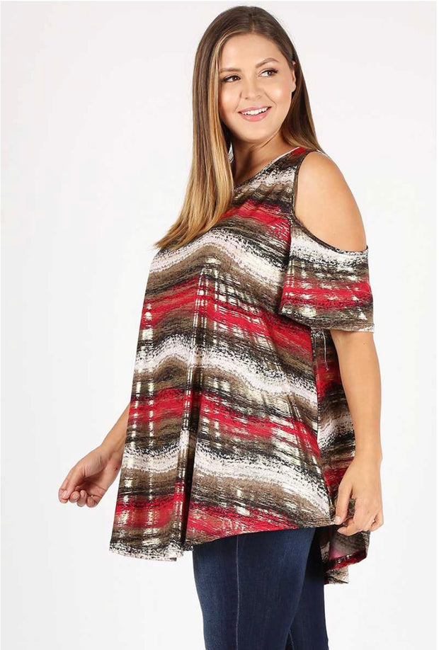 OS-M {Oh So Flirty} Red/Gold Shiny Print Cold-Shoulder Top EXTENDED PLUS SIZE 3X 4X 5X