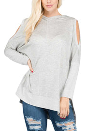 OS-F {Follow Your Instincts} Gray Cold-Shoulder Hoodie