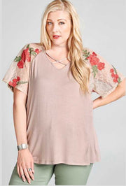 CP-Z {Just Lovely} Mocha Criss-Cross Top Lace Floral Sleeves