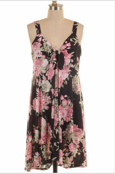 SV-B {Enchanting Muse} Black/Pink Floral Sleeveless Dress