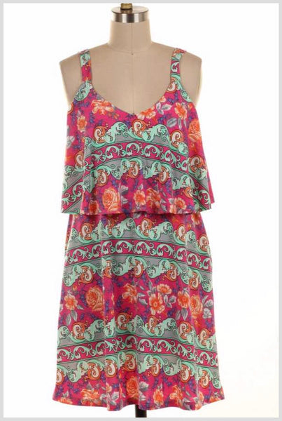 SV-B {Forever Floral} Pink/Mint Floral Dress w/Yoke Detail