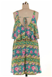 SV-K {Forever Floral} Teal/Pink Floral Dress with Yoke Detail