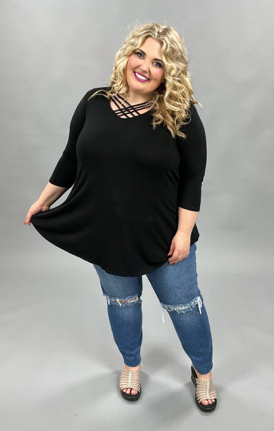 62 SQ-B {Finding Hope} BLACK Cage Neck Top CURVY BRAND!!! EXTENDED PLUS SIZE 3X 4X 5X 6X