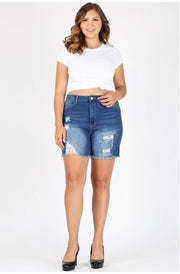 BT-A {Current Status} Distressed Denim Ripped Shorts