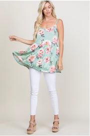 SV-F (Love Days) Pistachio Floral Print Tunic With Layers