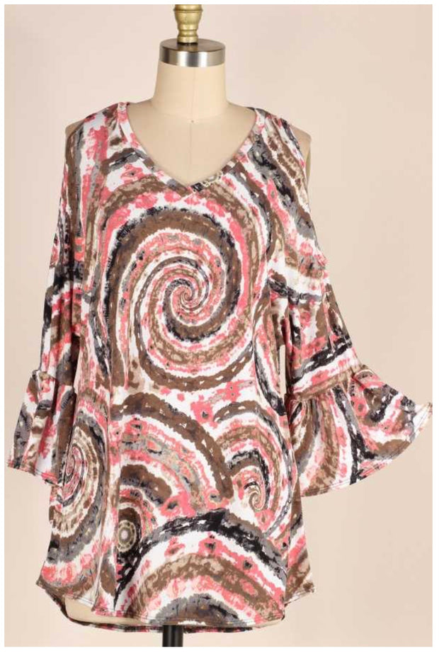 OS-A (Show Me Off) Mandala Print V-Neck With Bell Sleeves PLUS SIZE 1X 2X 3X