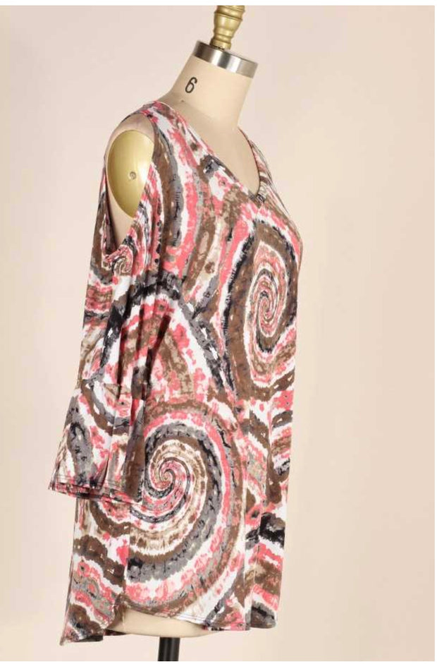 OS-A (Show Me Off) Mandala Print V-Neck W/Bell Sleeves Tunic PLUS SIZE 1X 2X 3X