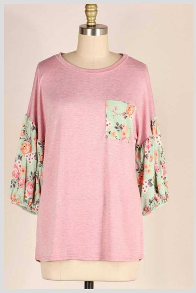 CP-C (Perfect Touch) Two Tone Pink Top With Floral Sleeves PLUS SIZE 1X 2X 3X