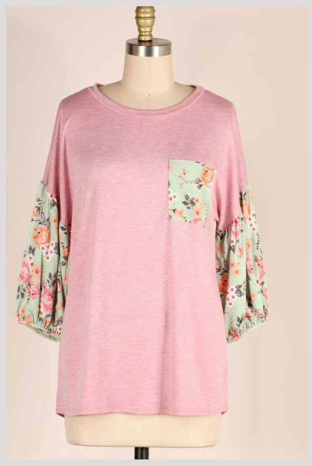 CP-C (Perfect Touch) SALE!! Two Tone Pink Top With Floral Sleeves PLUS SIZE 1X 2X 3X 4X 5X 6X