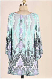 PQ-A {Kiss Me Softly} Gray/Aqua Paisley Tunic Bell Sleeves PLUS SIZE 1X 2X 3X