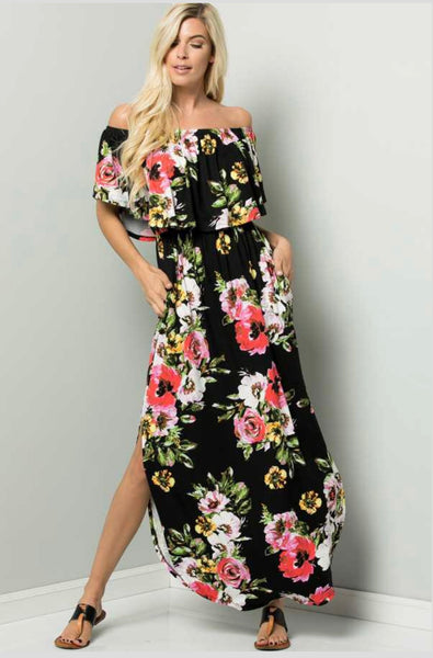 LD-A {Falling Into Floral} Black Floral Maxi Dress with Pockets
