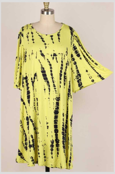 63 PSS-G {Afternoon Stroll} NEON/BLACK Bamboo Print Dress EXTENDED PLUS SIZE 3X 4X 5X
