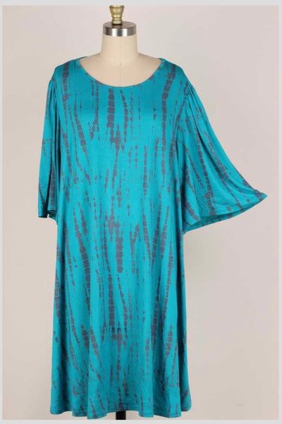 63 PSS-N {Afternoon Stroll} TEAL/GRAY Bamboo Print Dress EXTENDED PLUS SIZE 3X 4X 5X