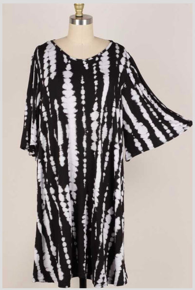 63 PSS-O {Afternoon Stroll} BLACK Bamboo Print Dress EXTENDED PLUS SIZE 3X 4X 5X