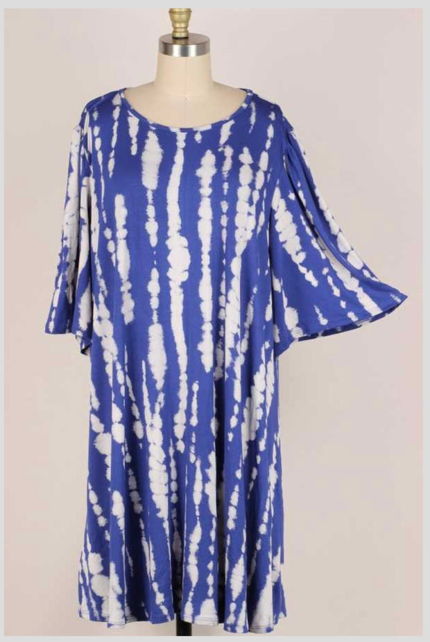 63 PSS-M {Afternoon Stroll} ROYAL BLUE Bamboo Print Dress EXTENDED PLUS SIZE 3X 4X 5X